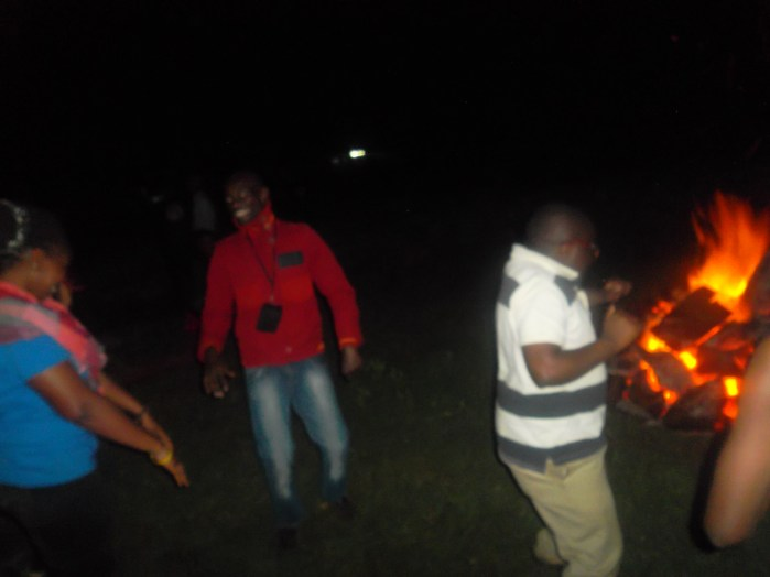 Teaching guys the Skelewu dance during the Bush party Season 3
